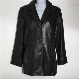 REDUCED. Colebrook & Co. Black Leather Blazer. M